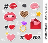 set of vector love icon sticker.... | Shutterstock . vector #1550477318