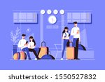 girl and boy in airport lounge... | Shutterstock .eps vector #1550527832