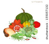 various kind of vitamin foods... | Shutterstock .eps vector #155057132