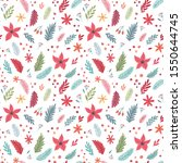 christmas seamless floral... | Shutterstock .eps vector #1550644745