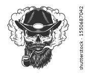 skull in smoke cloud and cowboy ... | Shutterstock . vector #1550687042