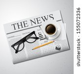 cup of coffee  newspaper and... | Shutterstock .eps vector #155072336