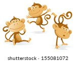 three very cheeky monkeys.... | Shutterstock .eps vector #155081072