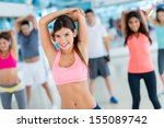 group of friends at the gym... | Shutterstock . vector #155089742