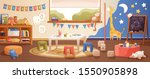 Kindergarten room interior flat vector illustration. Cozy playroom with cute children paintings on wall, furniture and toys. Nursery school environment for teaching kids and playing games. - stock vector