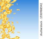korean won notes falling. messy ... | Shutterstock .eps vector #1550988542