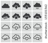 vector black  clouds  icons set | Shutterstock .eps vector #155101562