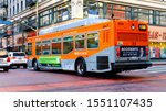 Los Angeles, California - October 3, 2019: LA METRO Local Bus number 18 in downtown Los Angeles - stock photo