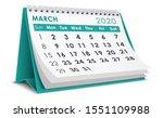 March 2020 Calendar In White...