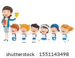 little students with their... | Shutterstock .eps vector #1551143498