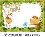 Fun Monkey Party Jungle Border.  - stock vector