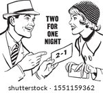 two for one night   couple with ... | Shutterstock .eps vector #1551159362