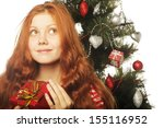 happy woman with gift box and... | Shutterstock . vector #155116952