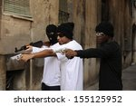 gang members or guerrilla with...   Shutterstock . vector #155125952