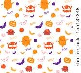 halloween ghost bat pumpkin... | Shutterstock .eps vector #155132348