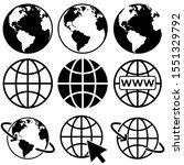 earth vector icons set  logo... | Shutterstock .eps vector #1551329792