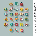 dimensional retro style signs ... | Shutterstock .eps vector #1551346028