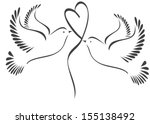 Doves with heart  - stock vector