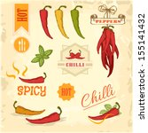 chilli, chili, pepper vegetables, product label packaging design - stock vector
