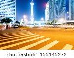 the light trails on the modern... | Shutterstock . vector #155145272