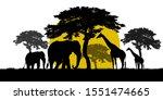 silhouette giraffe and elephant ... | Shutterstock . vector #1551474665