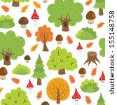 seamless pattern autumn trees... | Shutterstock .eps vector #155148758