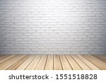 Small photo of Abstract interior with white brick wall, wooden floor and copy space. Mock up, 3D Rendering