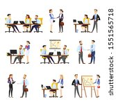 office worker set. collection... | Shutterstock . vector #1551565718