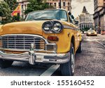 vintage old taxi in new york... | Shutterstock . vector #155160452