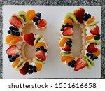 fresh fruits number cake on mom ... | Shutterstock . vector #1551616658