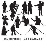 Set Of Silhouette Firefighters. ...