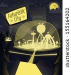 Night Futuristic City. Vector...