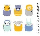 set of funny pocket animals.... | Shutterstock .eps vector #1551676295