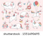 cute unicorn set.  vector... | Shutterstock .eps vector #1551690695