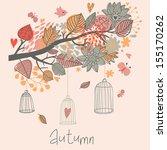 autumn concept card in vector.... | Shutterstock .eps vector #155170262