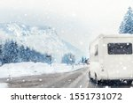 Small photo of Winter mountain road landscape with campervan turning aside. Family vacation travel, holiday trip in motorhome. Beautiful austrian nature scene