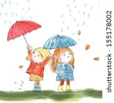 Two Girls And Umbrella
