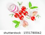 flatlay with greens  herbs and... | Shutterstock . vector #1551780062