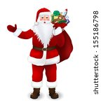 santa claus with a bag of gifts | Shutterstock .eps vector #155186798