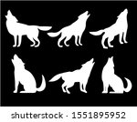 set with black silhouettes of... | Shutterstock .eps vector #1551895952