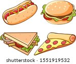 isolated set of fast food... | Shutterstock .eps vector #1551919532