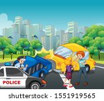 accident scene with car crash...   Shutterstock .eps vector #1551919565