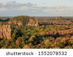 A Dramatic Fall Landscape over the Mill Bluffs Glacial Island Region in West-Central Wisconsin