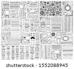 mega set of doodle sketch frame ... | Shutterstock . vector #1552088945