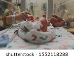 Small photo of Premature baby in NICU holding parents hands