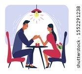 couple at romantic dinner...   Shutterstock .eps vector #1552291238