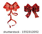 big set of red gift bows with... | Shutterstock .eps vector #1552312052