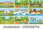 background scenes of animals in ... | Shutterstock .eps vector #1552428752