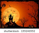 halloween night  black castle... | Shutterstock .eps vector #155243552