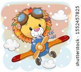 cute cartoon lion is flying on... | Shutterstock .eps vector #1552457825